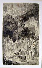 ILLUSTRATIONS THE BURNING OF ACHAM INK/WASH CONRAD METZ (ATTRIB) C1795