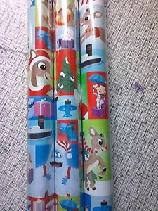 Rudolph Red-nosed Reindeer GIFT WRAP WRAPPING PAPER ROLL 40 SQ. FT or 60 SQ. FT