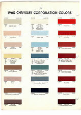 1960 DODGE DART PLYMOUTH FURY CHRYSLER NEW YORKER DE SOTO 60 PAINT CHIP ARCO
