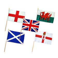 """12x18 12""""x18"""" Set of 5 UK United Kingdom Great Britain Stick Flag wood Staff"""
