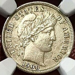 1900-S BARBER DIME NGC AU