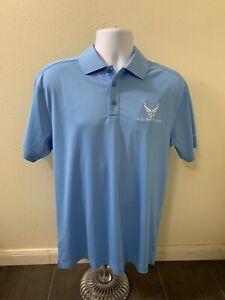 Under Armour Heat Gear Golf Polo Air Force Shirt Light Blue Men Size Medium