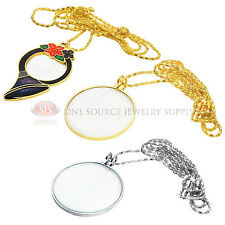 Gold Silver Decorative Necklace Pendant Magnifier Metal Magnifying Glass 3 Piece