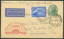 Germany, 1931, Polar Flight w/2mk Ovpt tied Friedrikshavn on U.S. 1¢ card,