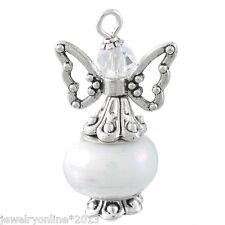 1 Anhänger Schutzengel Weiß Perlen Gastgeschenk Geburtstag Taufe #10