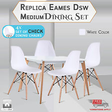 City Medium Dining Table + 4 x Retro Replica Eames Chick DSW Dining Chairs,White