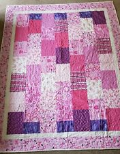 Pink White Breast Cancer Awareness Quilt Handmade Twin Sized Cotton Pieced