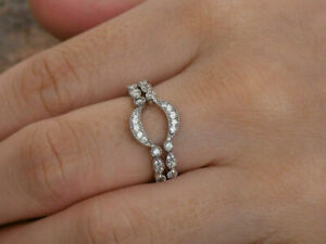 0.64Ct Round Cut Diamond Engagement Curved Band Ring Guard 14k White Gold Over