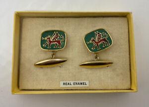 Vintage Wales Welsh Dragon Gold Tone Real Enamel Cufflinks Boxed 🏴
