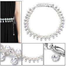 Metal Chain Waist Belt With Pearl Diamante Rhinestones For Bridal Wedding Dress