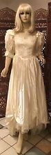 Vintage 1980's Satin Wedding Gown with Pearl Sequin Lace Bodice