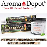 Activated Charcoal Powder & Toothpaste 100% Natural Teeth Whitening 2oz HARDWOOD