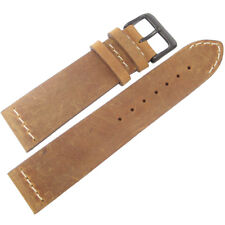 20mm ColaReb Venezia Mens SHORT Rust Brown Leather PVD Buckle Watch Band Strap