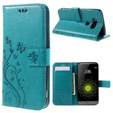 Floral Butterfly Imprint Leather Cover Card Holder for LG G5 / G5 SE - Blue