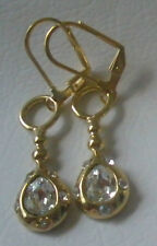 Tear Drop Earrings 14 Kt Gold Plated Leverback Made With Swarovski Crystals