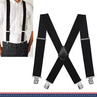 "Big &Tall Mens Industrial Strength Ballistic Nylon Clip End Work Suspenders 2"" W"