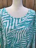 Susan Graver Women's White/Green Embellished Stretchable Top Size 2X