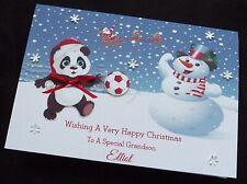 Personalised Handmade A5 Christmas Card -   Football Panda Snowman Soccer (x533)