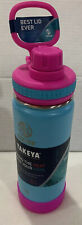 Takeya Insulated Stainless Water Bottle Insulated Spout Lid~18 oz~Pink/Teal