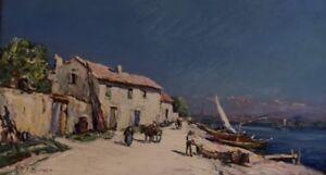 "Joseph HURARD (1887-1956).Huile /panneau. ""Paysage bord de mer"".v265"