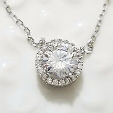 """2 Ct Round Diamond Halo Pendant Necklace 14K White Gold Plated 16"""" Chain WW22"""