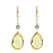 14K Yellow Gold Earrings with Pear Shape Citrine and Round Smoky Topaz