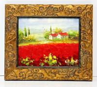 Red Poppy Flower Fields  8 x 10 Art Oil Painting Canvas Gold Leaf & Vine Frame