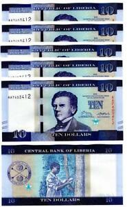 Liberia - 10 pcs x 10 Dollars 2016 UNC Lemberg-Zp