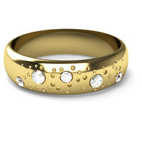 9CT Yellow Gold Fizzy Diamond Set Wedding Ring D Shaped Band 5mm Width Polished