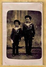 Carte Photo vintage card RPPC 2 enfants garçon habits de marin ph0249