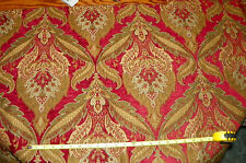 Red Gold Print Upholstery Fabric Remnant F437