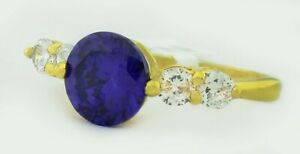 AMETHYST 2.52 Cts & WHITE SAPPHIRE RING 14K YELLOW GOLDPLATED ** New With Ta