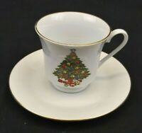 Sea Gull Fine China Christmas Tree Cup and Saucer White with Gold Rim