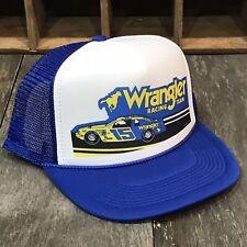 Wrangler Racing Team Vintage 80's Trucker Hat Nascar Earnhardt Racing Cap Blue