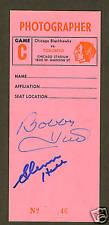 Bobby Hull & Glenn Hall signed Old Chicago Stadium pass