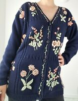 Vintage Floral Embroidered Navy Blue Cotton Long Cardigan Size S Cottagecore