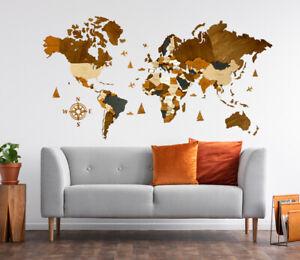 "3D Wooden World Map ""Americano"" L sz (59""x31"") Standart Type"