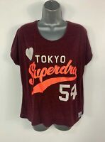 WOMENS SUPERDRY SIZE SMALL BURGUNDY RED LOGO PRINT SHORT SLEEVE CASUAL T SHIRT