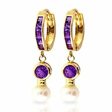 1.5 CTW 14K Solid Gold Huggie Princess Shape Earrings pearl Amethyst Stone