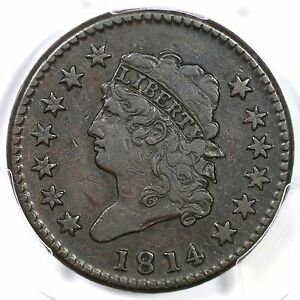 """1814 s-294 PCGS VF30 """"Crosslet 4"""" Classic Head Large Cent Coin 1c"""