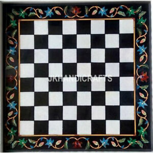 "24"" Black Marble Square Chess Table Top Antique Marquetry Inlay Home Decor"