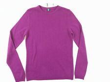 New Ladies Sweater Purple Jumper Crew Neck Wool United Colors of Benetton M