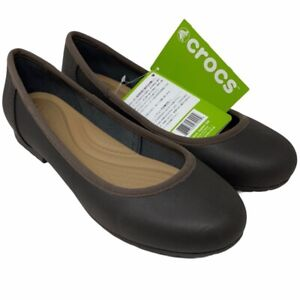Crocs Womens Marin Colorlite Ballet Flat Shoes Brown Round Toe Slip Ons 7.5 New