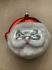 Collectible Glass Santa Claus Double Sided Christmas Ornament