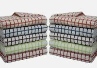 New Multicoloured Pack of 10 100% Cotton Mono Check kitchen dish cloth Towel