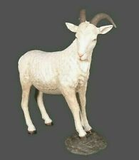 More details for standing walking billy goat statue figure sculpture young doe nanny buck cream