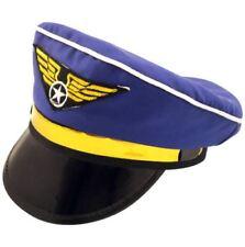 Adults Royal Blue Aeroplane Pilot Captains Fancy Dress Hat
