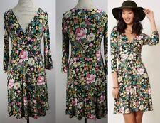 Anthropologie Torsade Floral Jersey Wrap Dress By Lilka Size M Shift