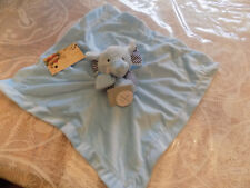 CARTERS SECURITY BLANKET ELEPHANT NEW BLUE STRIPED ARMS EARS TUSKS SOFT VELOUR