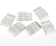 10 Small Blank Hair Combs Silver Tone 26mm X 39mm Wedding Prom Grips J15509h